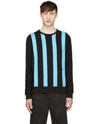 Giuliano Fujiwara - Black & Turquoise Striped Pullover - Lyst