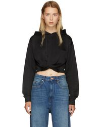 T By Alexander Wang - Black Sleek Front Twist Hoodie - Lyst