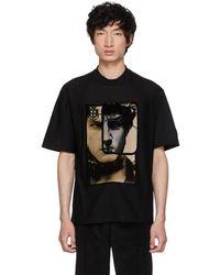 Prada - Black Printed Face T-shirt - Lyst