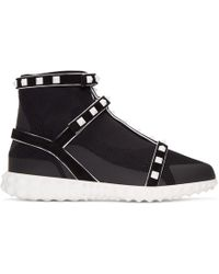 Valentino - Black Garavani Studded Knit Sock High-top Sneakers - Lyst