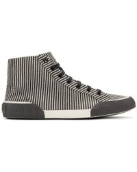 Lanvin - Black And White Striped Canvas Mid Sneakers - Lyst