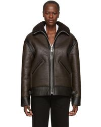 Lemaire - Brown Shearling Flight Jacket - Lyst
