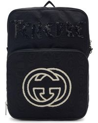 Gucci - Black Medium Tenebre Logo Patch Backpack - Lyst