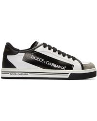 Dolce & Gabbana - Black And White Logo Sneakers - Lyst