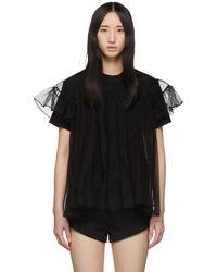 ShuShu/Tong - Black Tulle Overlay T-shirt - Lyst