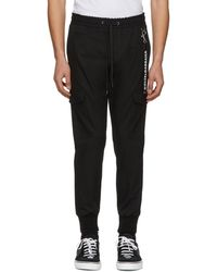Dolce & Gabbana | Black Drawstring Cargo Trousers | Lyst