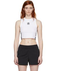 adidas Originals - White Cropped Tank Top - Lyst
