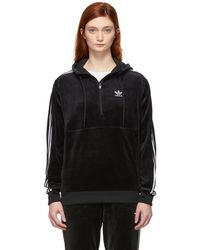 adidas Originals - Black Velour Cosy Half-zip Hoodie - Lyst