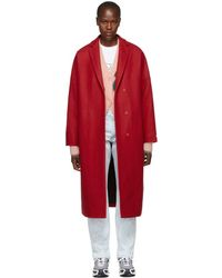 MSGM - Red Oversized Stamped Rose Coat - Lyst