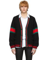 Gucci - Black Cable Knit Oversize Cardigan - Lyst