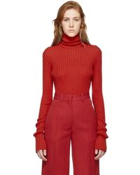 Victoria Beckham Red Sleeve Gathers Polo Turtleneck