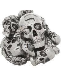 Alexander McQueen - Gunmetal Multi Skull And Snake Ring - Lyst