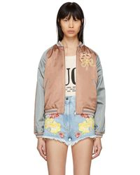 Gucci - Pink And Grey Sequinned Guccy Cat Bomber Jacket - Lyst