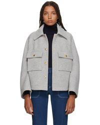 Chloé - Grey Loose Fit Shirt Jacket - Lyst