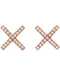 Eva Fehren - Rose Gold & Diamond X Studs - Lyst