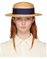 Maison Michel - Tan Straw Rod Hat - Lyst