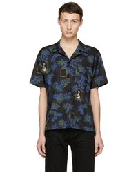 4a2c66215 Lyst - Kenzo Contrast Collar Bowling Shirt in Blue for Men