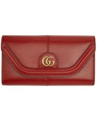 Gucci - Red GG Default Flap Wallet - Lyst