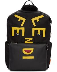 Fendi - Black Nylon Faces Backpack - Lyst