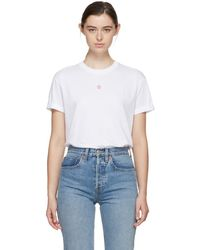 Stella McCartney - White And Pink Embroidered Star T-shirt - Lyst