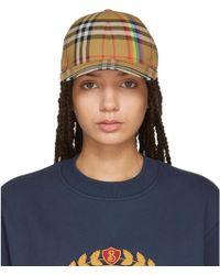 Burberry | Tan Rainbow Check Cap | Lyst