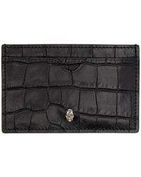 Alexander McQueen - Black Croc Skull Card Holder - Lyst