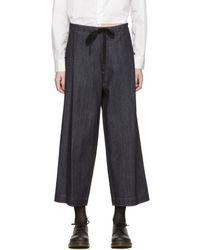 Y's Yohji Yamamoto - Indigo Wide-leg Cropped Jeans - Lyst