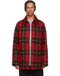 Balenciaga - Red And Black Polar Check Padded Shirt - Lyst