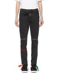 Off-White c/o Virgil Abloh - Black Slim Zip Jeans - Lyst
