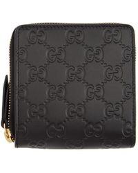 Gucci Black Signature Zip-around Wallet