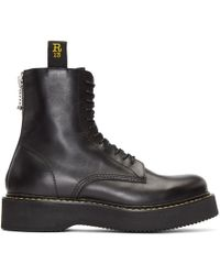 R13 - Black Leather Lace-up Boots - Lyst