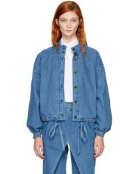 69 - Blue Denim Pleated Jacket - Lyst