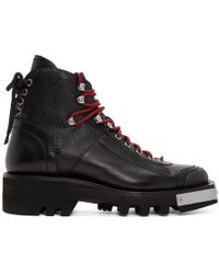 DSquared² - Black Lace-up Hiker Boots - Lyst