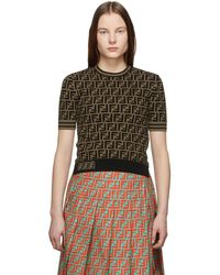 31a65b12 Fendi - Black And Brown Knit Forever T-shirt - Lyst