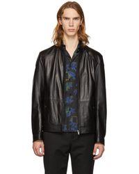BOSS - Black Leather Nocan Jacket - Lyst