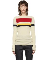 Victoria Beckham - Off-white Stripe Long Sleeve Sweater - Lyst
