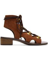 See By Chloé Orange Suede Gladiator Tie Sandals