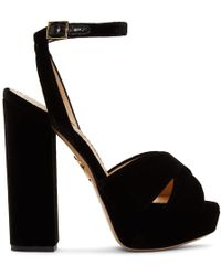 Charlotte Olympia - Black Velvet Diana Platform Sandals - Lyst