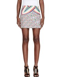Peter Pilotto - Blue And Red Printed Mini Skirt - Lyst