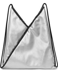 MM6 by Maison Martin Margiela - Silver Faux-leather Backpack - Lyst