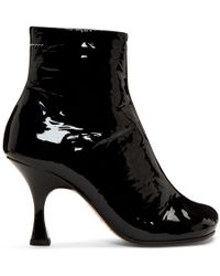 MM6 by Maison Martin Margiela - Black Patent Flared Heel Boots - Lyst