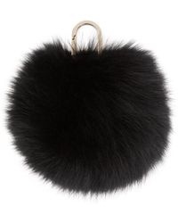 Yves Salomon - Black Fur Pom Pom Keychain - Lyst