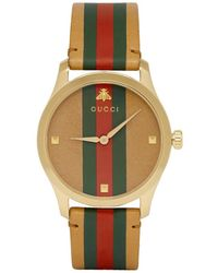 Gucci - Tan And Gold Striped Leather G-timeless Watch - Lyst