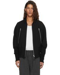 Issey Miyake - Black Wool Double Zip Bomber Jacket - Lyst