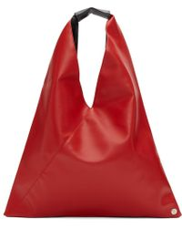 MM6 by Maison Martin Margiela - Red Small Faux-leather Tote - Lyst