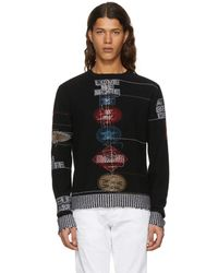 Valentino - Black Cashmere Reverse Embroidered Sweater - Lyst