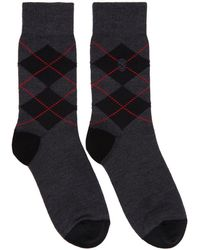 Alexander McQueen - Grey And Red Argyle Socks - Lyst