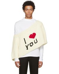 Lyst Raf Simons Off White I Love You Blow Up Raglan Sweater In