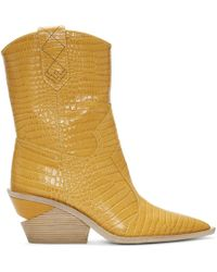 Fendi - Yellow Croc Cowboy Boots - Lyst