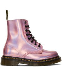 Dr. Martens - Pink Reflective Metallic Pascal Lace-up Boots - Lyst